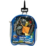 Shark and Stingray Playset: 12 Piece Toy set in Clip Bag for Play on the GO!