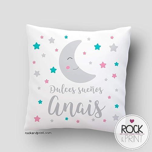 Cojín regalo bebe dulces sueños luna. 40x40 cm, incluye relleno. Elige el color. Nacimiento, recién nacido, decoración cuna. Cojines infantiles ...