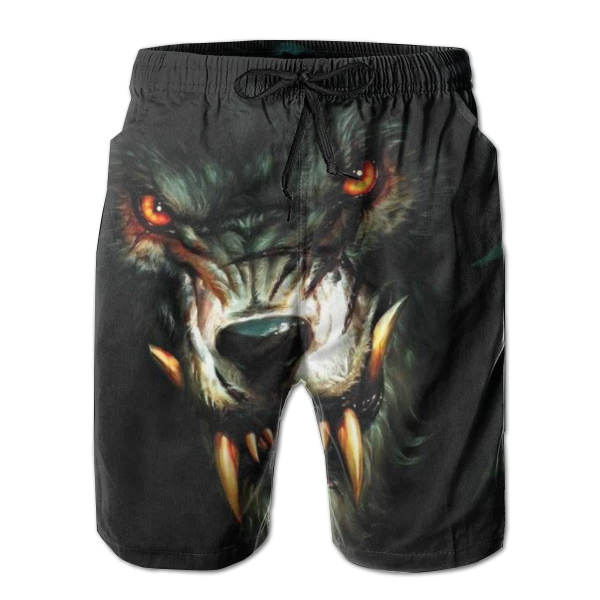 Wolf Mens Swim Trunks 3D Drawstring Beach Board Shorts Quick Dry Bathing Suitsr Running Board Shorts