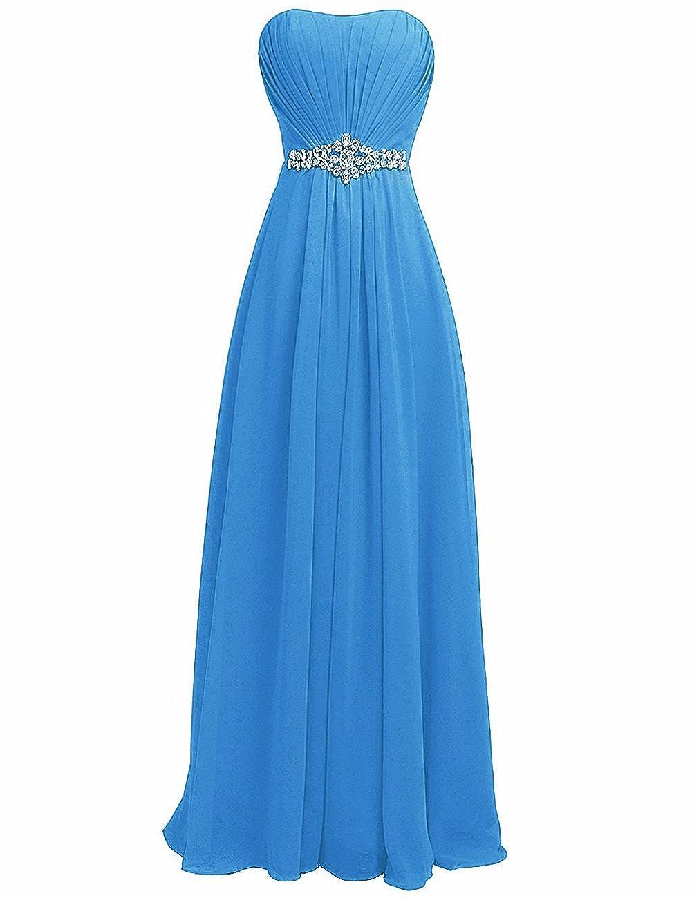 bluee H.S.D Women's Strapless Rhinestone Sash Long Bridesmaid Dress Evening Gown