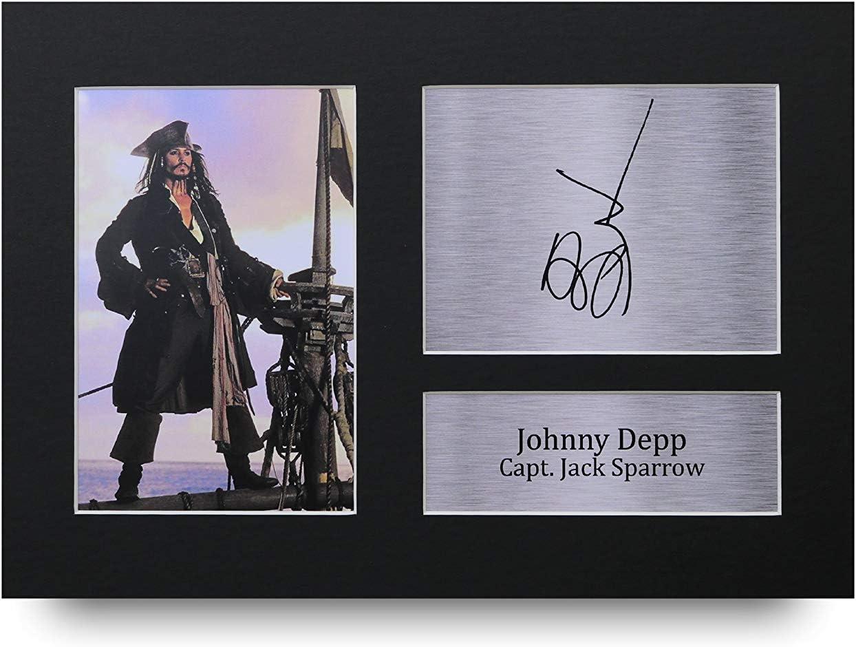 HWC Trading Johnny Depp A4 Incorniciato Firmato Regalo Visualizzazione delle Foto Print Immagine Autografo Stampato per Pirates of The Caribbean Gli Appassionati di Cinema