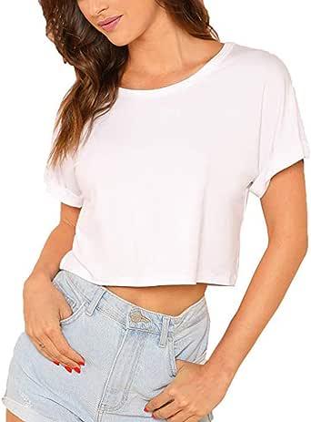 VEMOW Tops Mujer Moda Mujer Casual Cuello Redondo Manga Corta Sólido Crop Top Camiseta Blusa: Amazon.es: Ropa y accesorios