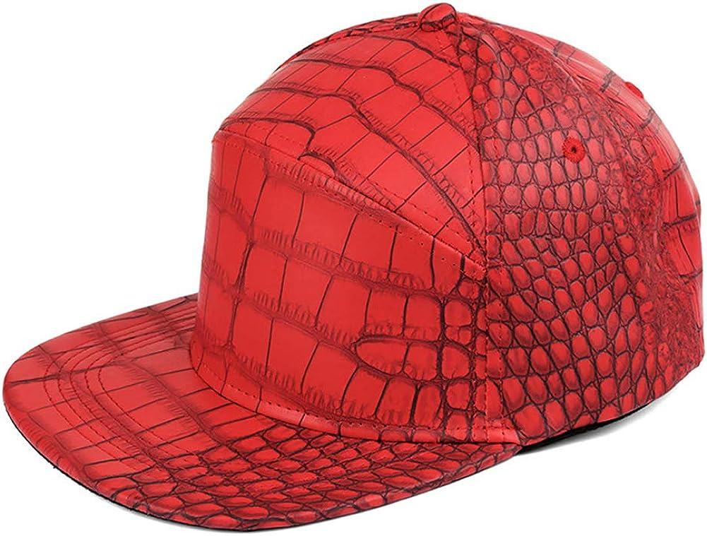 Richea Unisex Crocodile Grain Baseball Cap Hip-Hop Dance Flat Bill Snapback Hat