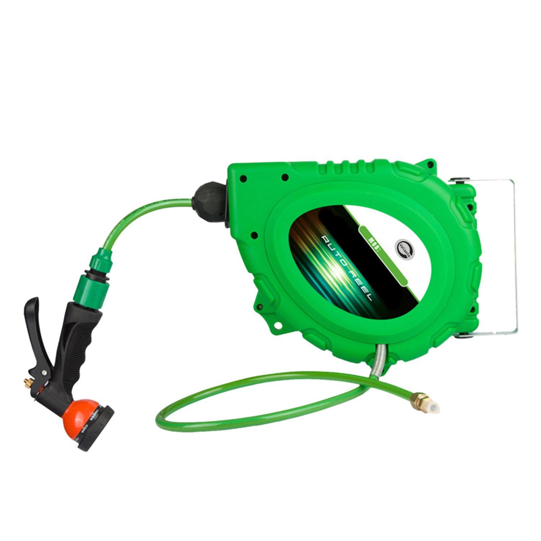 Valianto 1215W 8mm * 15m Elektrische automatische Automatik Rewind Wasser Luftschlauch Schlauch Garten Rot