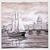 Cotton Microfiber Hand Towel,Country Decor,Retro Vintage Style Painting of a Sailing Boat Ship Moving by the Sea near City Town Art Print,Grey,for Kids, Teens, and Adults,One Side Printing