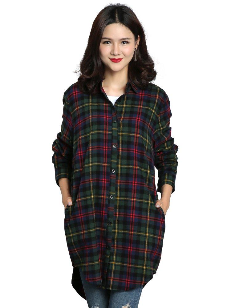 Women's Long Sleeve Boyfriend Style Plaid Shirt Dress Casual Tops C003BF Chris Green M