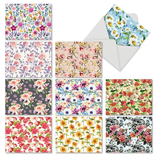 M6568OCB Bloomers: 10 Assorted Blank All-Occasion Note Cards Featuring Backgrounds Filled with Roses, Daisies and Other Lovely Flowers, w/White Envelopes.