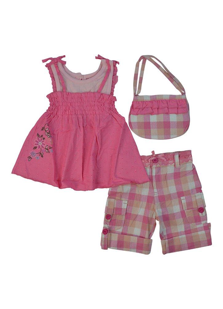 Alfa Global Girls' Cute Dress Short and Purse 3 pcs. Set 4T