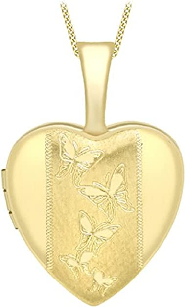 Yellow Curb Meaning >> Carissima Gold Women S 9 Ct Yellow Gold Etched Butterfly Detail Heart Locket On Curb Chain Of Length 46 Cm