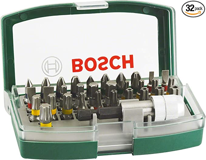 Bosch 21 Piece Screwdriver Bit Set Green with Magnetic Bit Holder, Carabiner, Accessory for Electric Screwdrivers