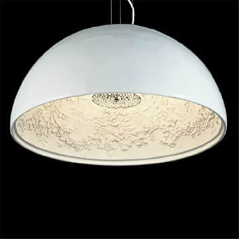 GroBartig Cwill Moderne Pendelleuchte LED Leuchte Skygarden Anhänger Kuppel Harz Malerei  Esszimmer Pendelleuchte, Weiß, Ø