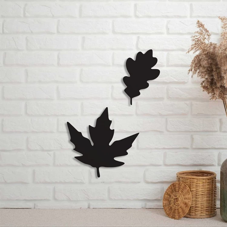 EricauBird Fall Tiered Tray Sign Metal Autumn Leaves Art Room Wall Decor Custom House Plaque Personalized Rustic Door Hanger Black Sign for Housewarming Gift Indoor Outdoor