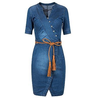 236c779dfcee Scothen Jeans pour Femmes Jupe Manches Longues Jeans Partie Mini-Jeans Robe  Chemisier Printemps été
