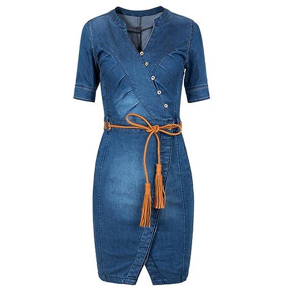 Scothen Damen Jeans Skirt Frauen Langarm Slim Denim Jeans Party