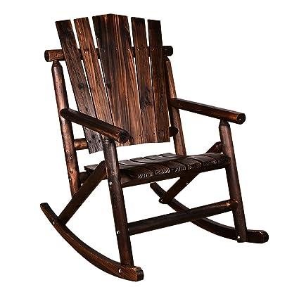 Action Club Log Rocking Chair Single Porch Rocker Hardwood Rustic Large  Space Patio Furniture