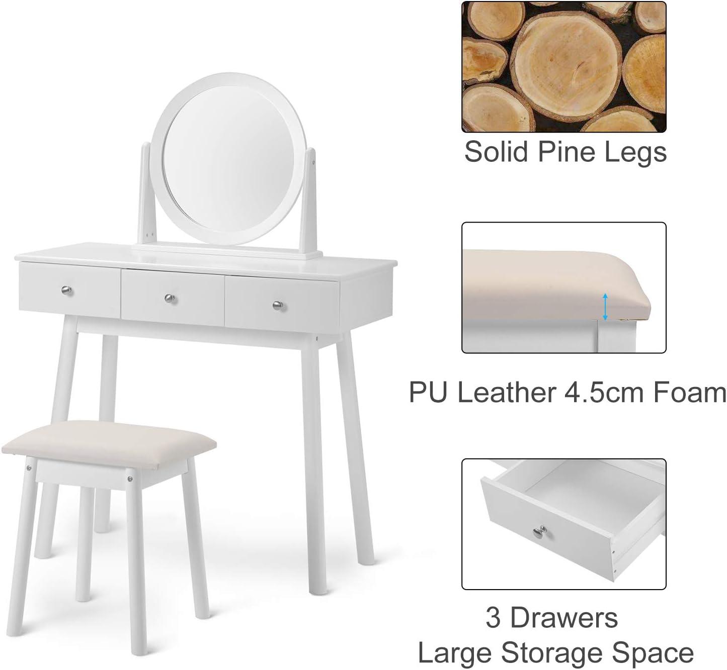 Kommode wei/ß M/ädchen Famgizmo Schminktisch Set mit 3 Schubladen und Hocker und Spiegel 90 * 40 * 80 cm Makeup Desk Schlafzimmer