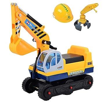 deAO Vehículo Correpasillos Camión de Construcción con Excavadora Manual Inlcuye 2 Extensiones Diferentes: Amazon.es: Juguetes y juegos