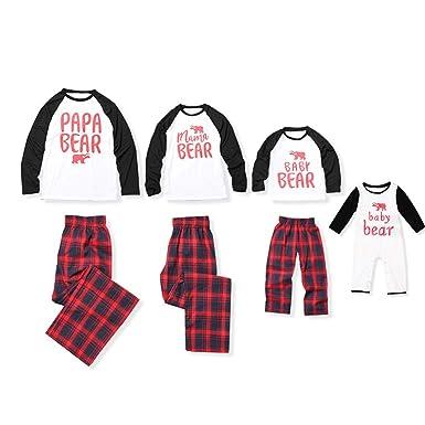 patpat matching family christmas holiday polar bear pj pajamas set with plaid pant