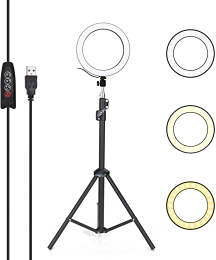 RuleaxAsi Aluminum Alloy Photography LED Selfie Ring Light Dimmable Photo Camera Phone Ring Lamp with 1.6M Stand Tripod for Makeup Video Live Studio Three Gear Dimming Modes 10 Levels of Brightness