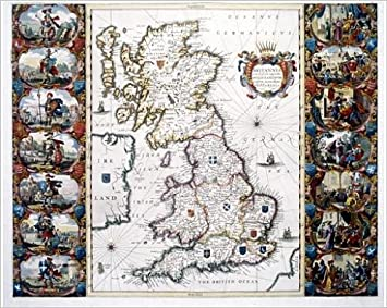 Photographic Print of AngloSaxon Heptarchy Map of the Kingdoms of