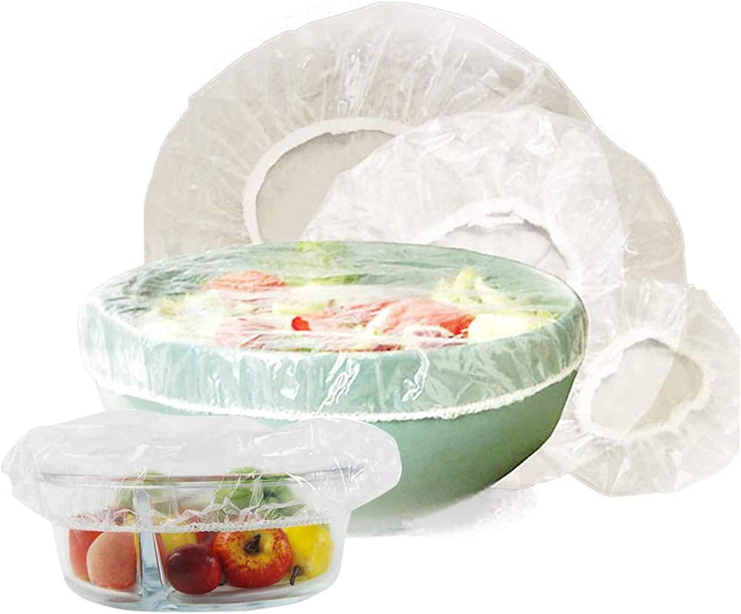 100pcs Reusable Elastic Food Storage Covers, Plastic Bowl Covers with Elastic Edging, Stretchable Plastic Food Wraps, Elastic Covers for Storage Containers