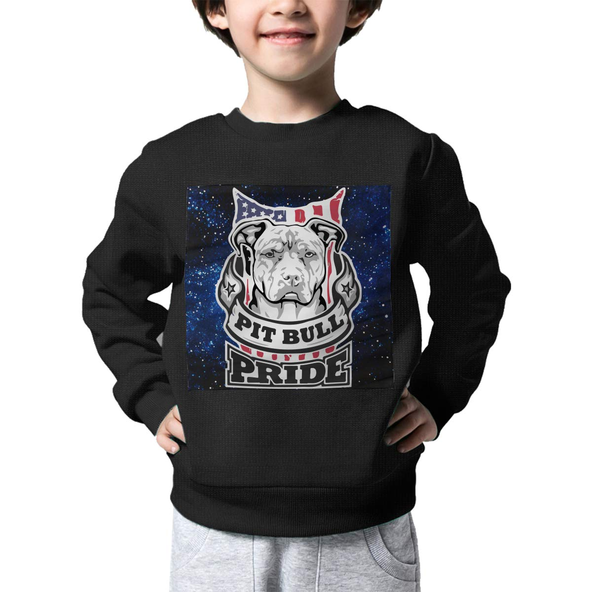 Warm/&Q90 Pit Bull Pride Print Baby Boys Childrens Crew Neck Sweater Long Sleeve Cute Knit Top Blouse
