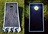 SLR Day & Night Cornhole Board Set - Dark Wood ACA Regulation Size Premium Hardwood Frame W/ Lights Included. Also Comes With 8 Official Size And Weight Corn hole Bags.