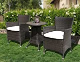 PATIOROMA 2 Pieces Outdoor Single Chairs Patio PE Wicker Arm Seat with White Cushions, Brown