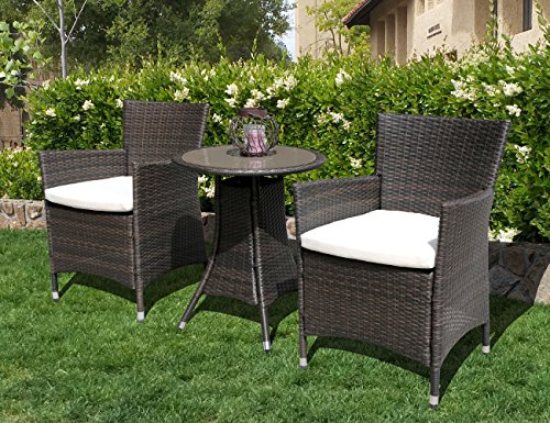 PATIOROMA 2 Pieces Outdoor Single Chairs Patio PE Wicker Arm Seat with White Cushions, Brown (Nook Clearance Breakfast)