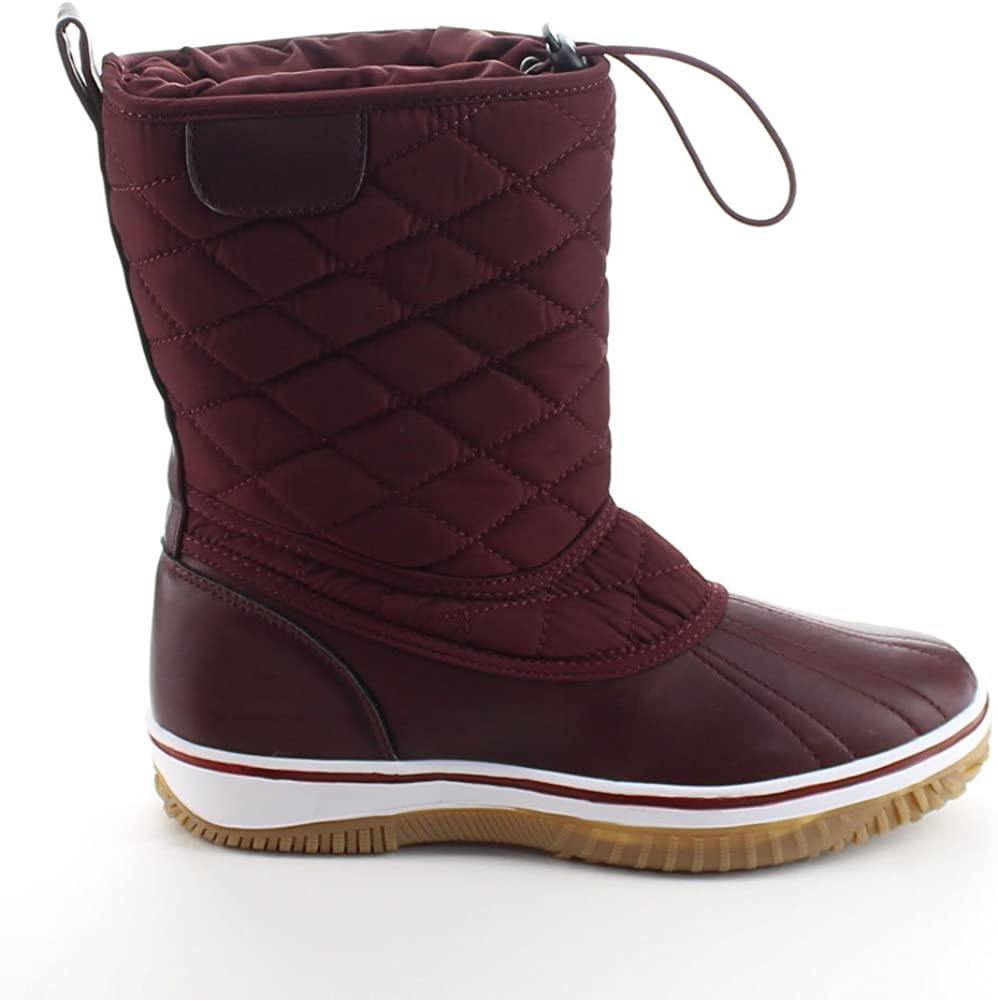 Refresh Snow-01 Womens Lace Up Waterproof Quilted Mid Calf Winter Snow Boots