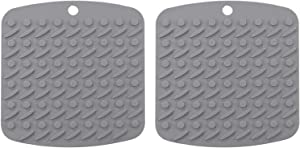 "Silicone Pot Holders for Kitchen 7""x7"", Multipurpose Trivets for Hot Pots and Pans, Nonslip Hot Pads for Oven, Potholders, Rubber Heat Resistant Mat, 2 Pack (Grey)"