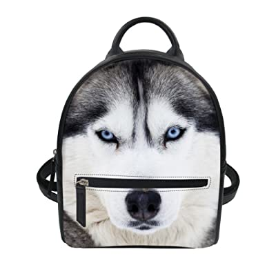 Cute Husky Dog Leather Backpack Womens Pretty Small Pretty