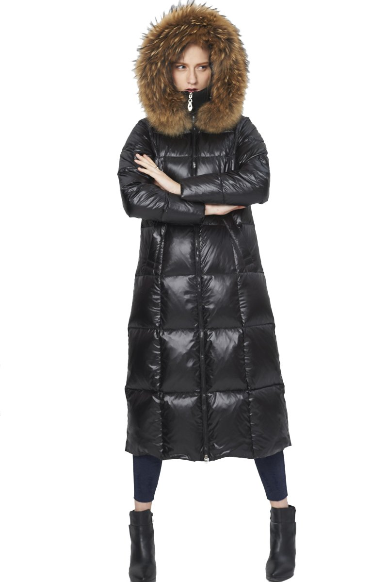 Queeenshiny New Style Winter Women's Long Down Coat with Raccoon Fur Hood Black M(8-10) by Queenshiny