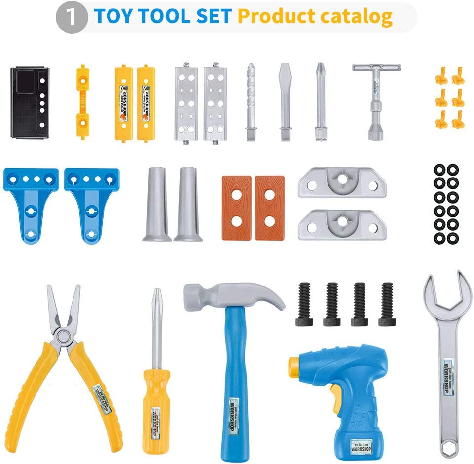 Gimsan Kids Tool Set 45PCS Toddler Tool Set with Electric Toy Drill Kids Construction Tool Toy Kit Playset Kids Tool Bench for Age 3-7 Year Old
