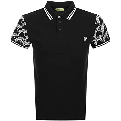 441c871a9 Mens Versace Jeans Tiger Print Polo T Shirt Black - Large: Amazon.co.uk:  Clothing