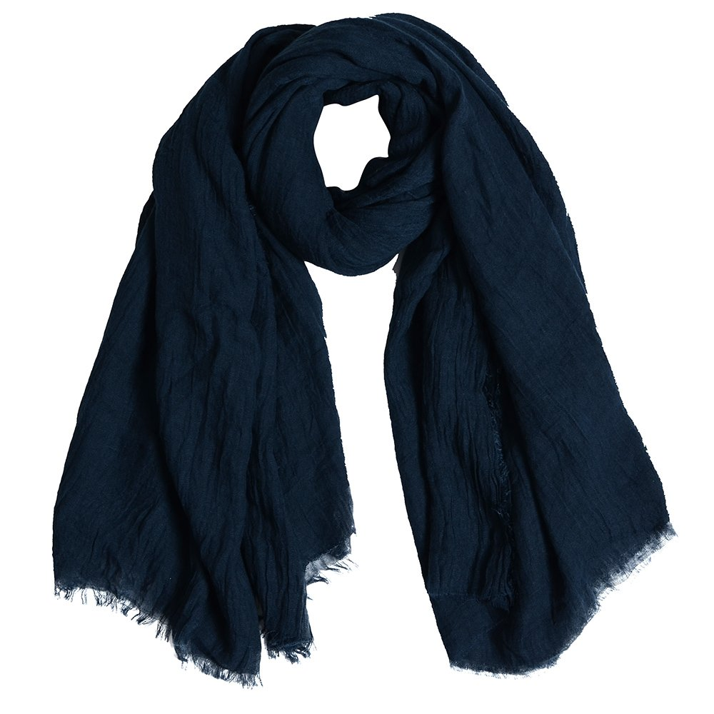 QBSM Womens Navy Blue Soft Large Crinkle Hijab Scarfs Shawls Solid Cotton Sheer Wraps Cover Up