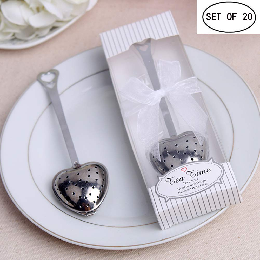 BERON Stainless Steel Tea Time Heart Tea Infuser Steeper(set of 20) by BERON