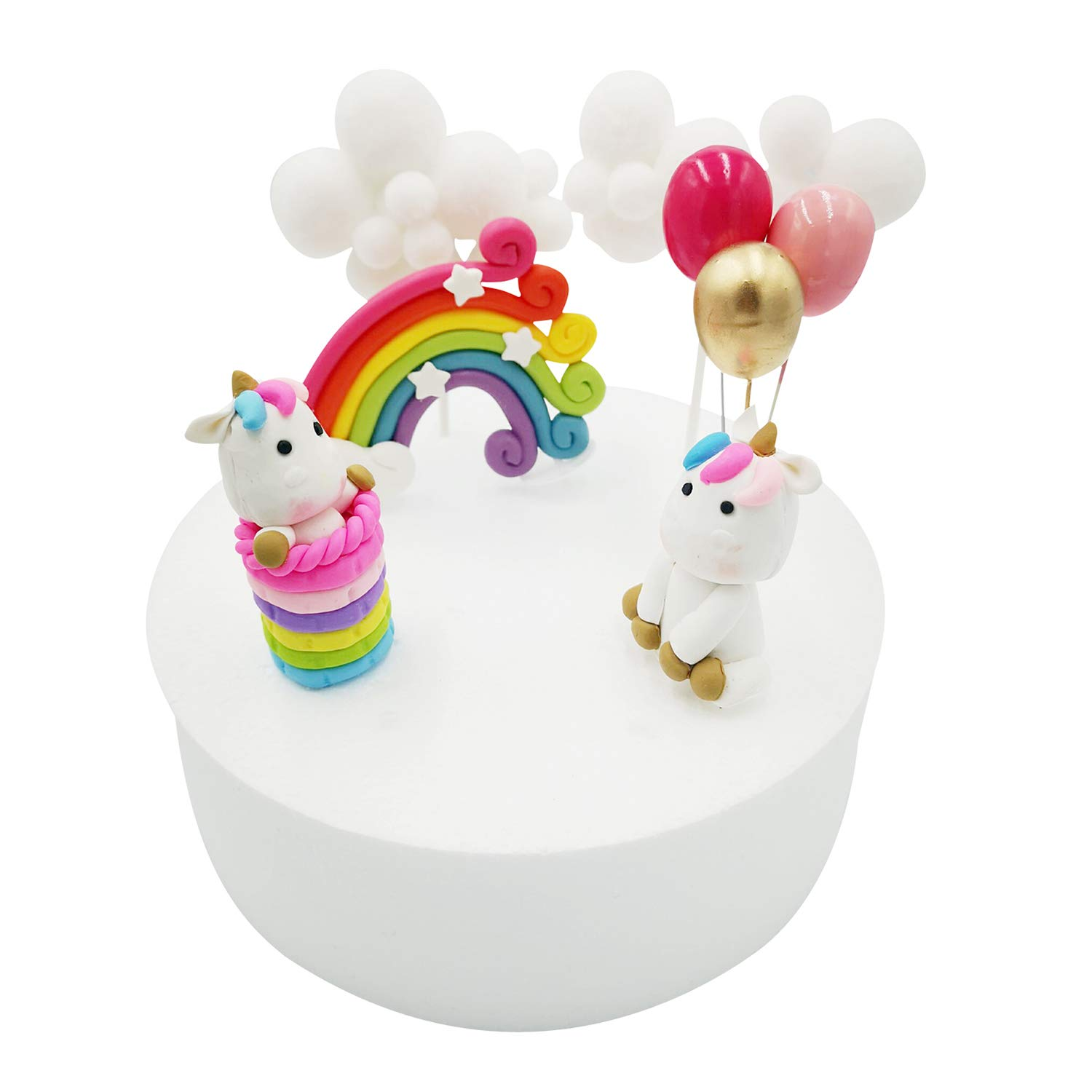 Callaia Balloon Rainbow Cloud Unicorn Cake Topper for Boys and Girls Unicorn Birthday Party Cake Decorations Set of 8