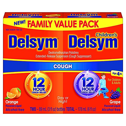 Delsym Children's 12 Hr Cough Relief, Cough Liquid, Orange and Grape Duo Pack, 3 Ounces (Kids Cough Relief Syrup)