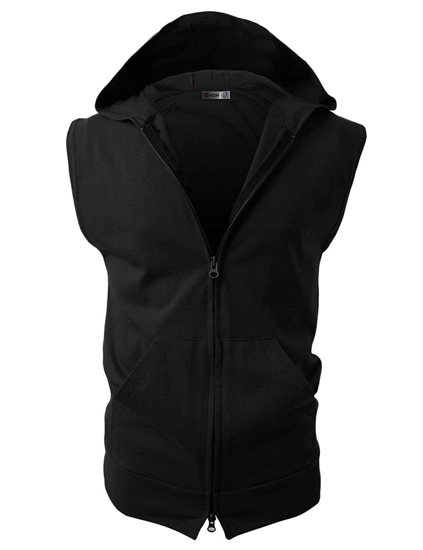 fff5197abb4 H2H Mens Casual Lightweight Sleeveless Zip-up Vest Tank Hoodies at Amazon  Men s Clothing store