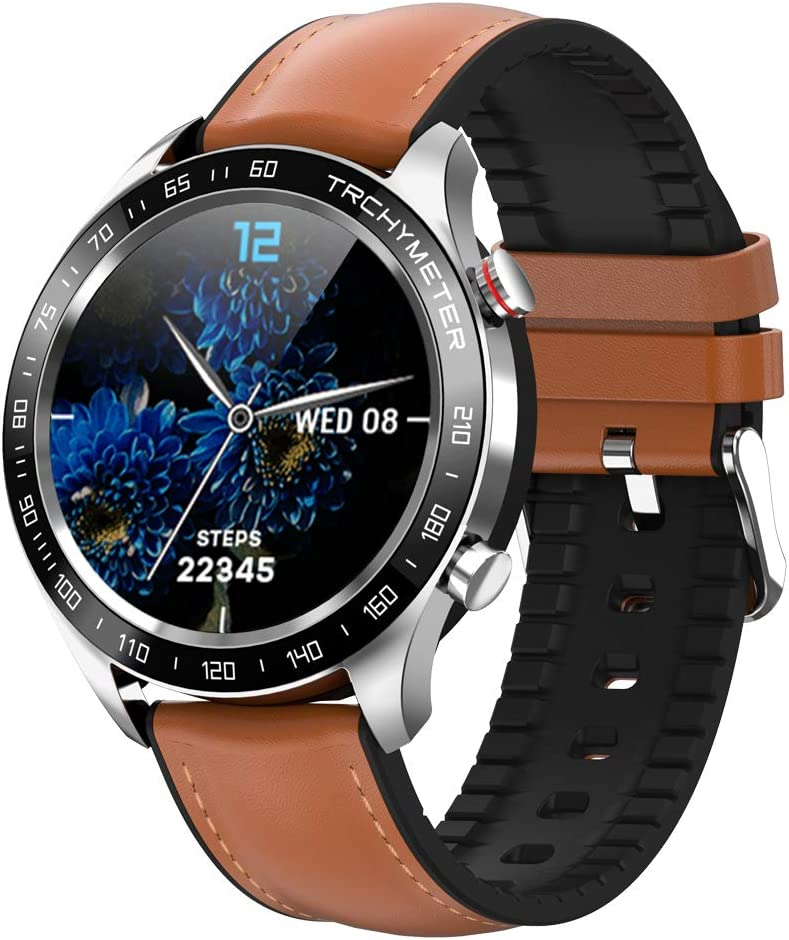 Smart Watch for Android iPhone, Smartwatch with Heart Rate and Blood Pressure Mo Fitnenitor for Men, Watch with Waterproof, Full Touch Screen, Pedometer for Women, Compatible for Samsung (Brown)