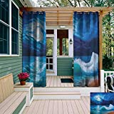 leinuoyi Ocean, Outdoor Curtain Pair, Moonlight Over Wavy Sea Dramatic Sky Beach Landscape Picture in Oil Painting Effect, for Patio W84 x L108 Inch Navy White