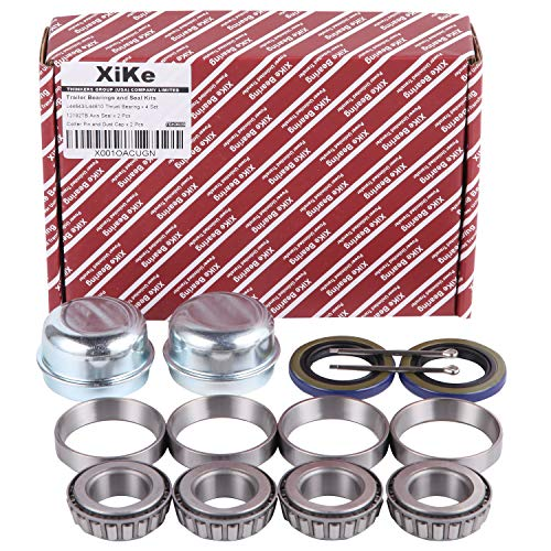 XiKe 2 Set Trailer Axle Hub Bearings Wheel Kit for Spindle 1.000'' or 1 Inch, Rotary Quiet High Speed and Durable. L44643/L44610, 12192TB Seal OD 1.980'', Dust Cover and Cotter Pin.