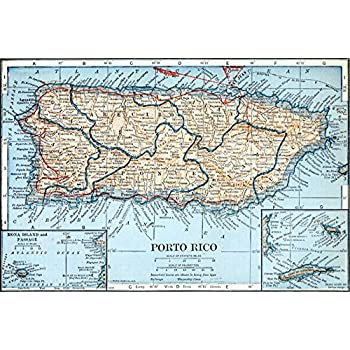 Amazon Com 24x36 Poster Topographical And Political Map Of Puerto