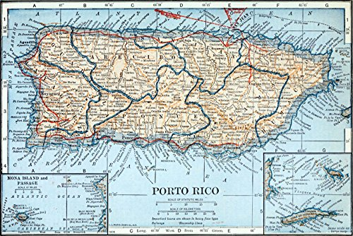 24x36 Poster; Topographical And Political Map Of Puerto Rico