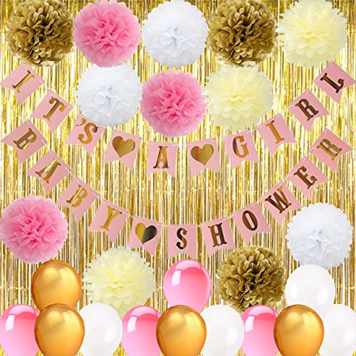Baby Shower Decorations, (46 Pcs ) BABY SHOWER & IT'S A GIRL Bunting Banner with Pom Flowers Balloons Gold Foil Fringe Curtain, Pink White Gold Party Decoration for Baby Shower TD010 -