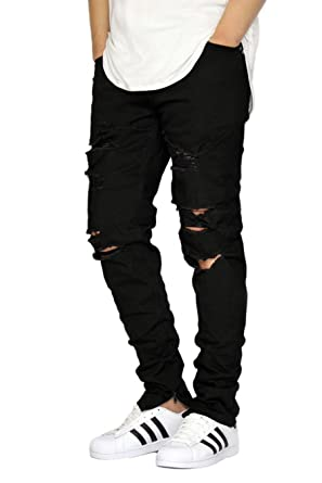 URBANJ MEN'S BLACK DESTROYED ANKLE ZIPPER SKINNY JEANS (36) at ...