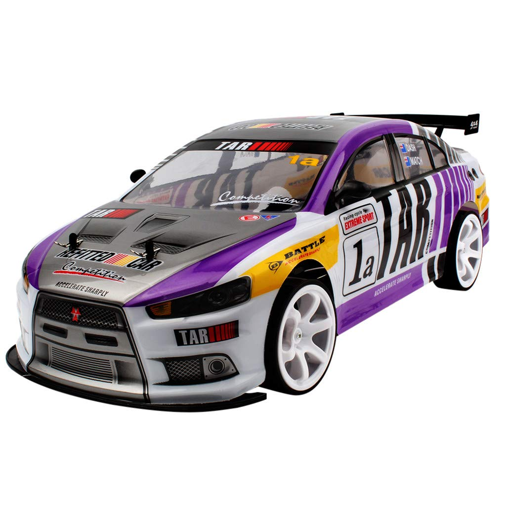 CreazyBee Profession 1:10 70km/h 2.4G RC Car 4WD Double Battery High Power LED Headlight Racing Truck (Purple) by CreazyBee (Image #1)