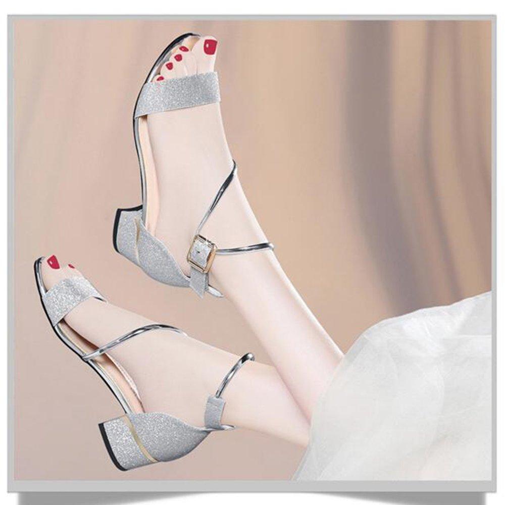 Sandalen Damenschuhe PU Frühling Sommer Sommer Sommer Chunky Heel Peep Toe für Party & Abend Gold, Silber stilvoll (Farbe   Gold, größe   EU39 UK6 CN39) B07C9TD4WY Tanzschuhe Exportieren 6f6a42