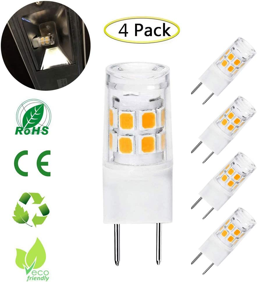 G8 LED Bulb 3W, 20W-25W WB25X10019 Microwave Oven Halogen Light Bulb Replacement, T4 G8 Bi-Pin Base, 120V, Warm White 3000K, Not-Dimmable, 4-Pack